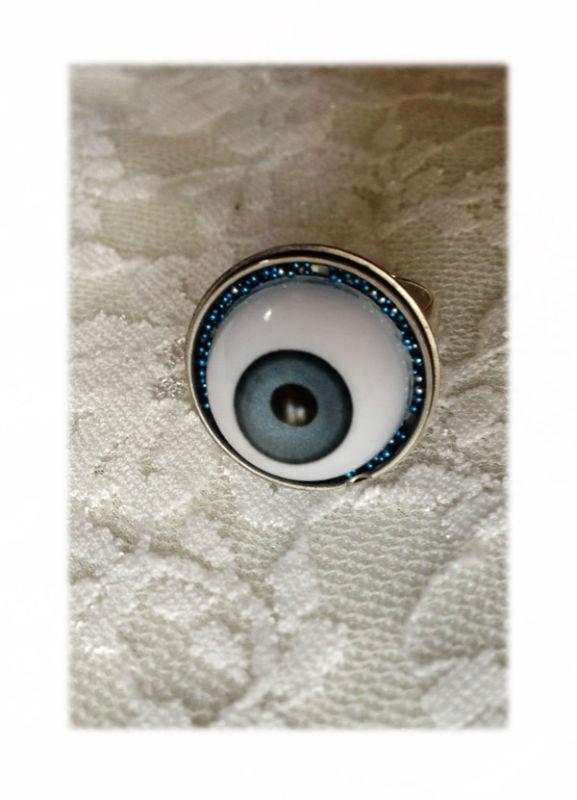 Bague oeil bleue