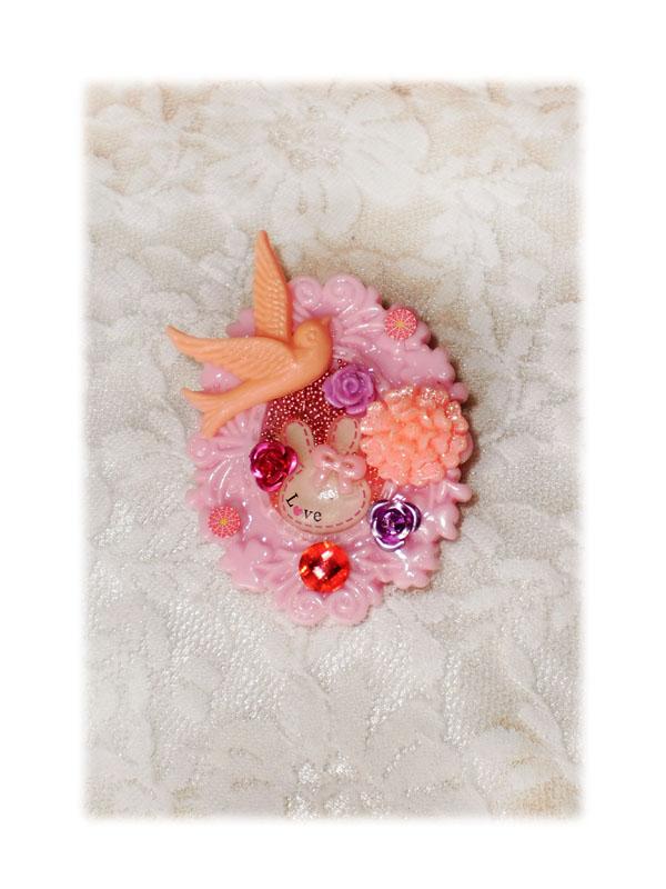 broche bijoux oiseau rose