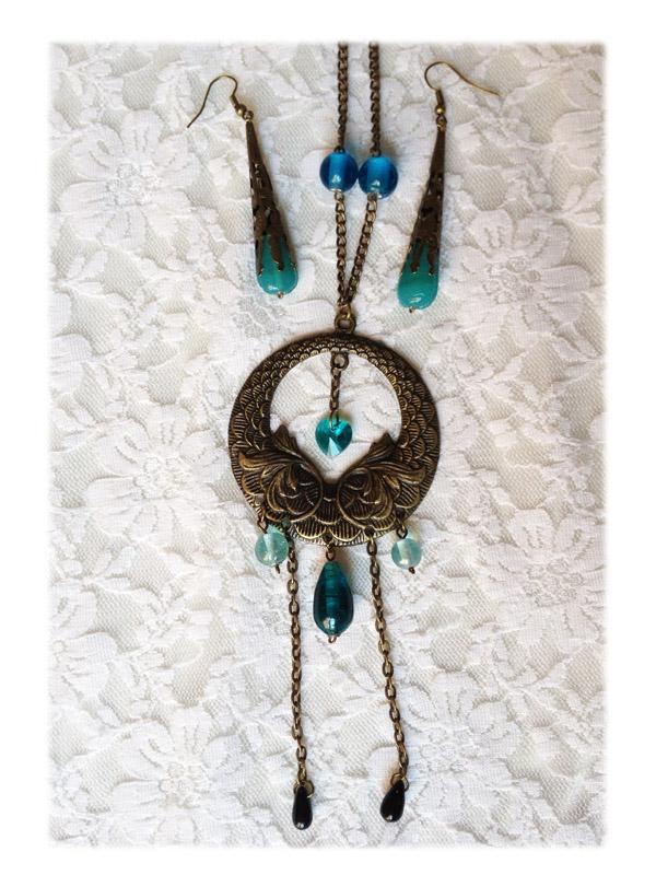 Collier Elfique - parrure elfique bleu