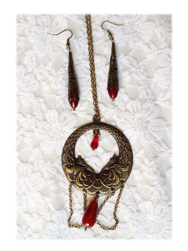 collier elfique - parure elfique rouge