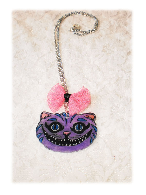 collier kawaii tête chat cheshire